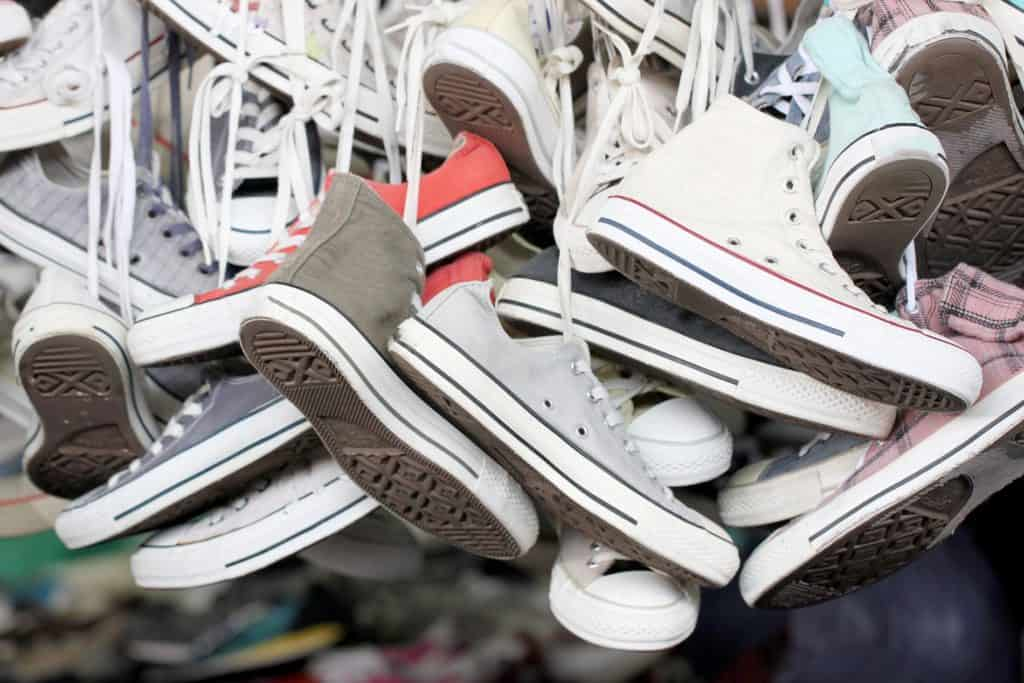 Sneakers of old shoes second hand.
